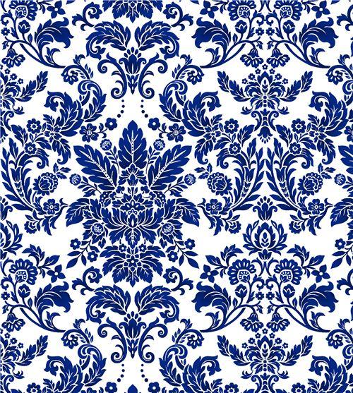 offwhite dark blue flower leaf pattern fabric by henry