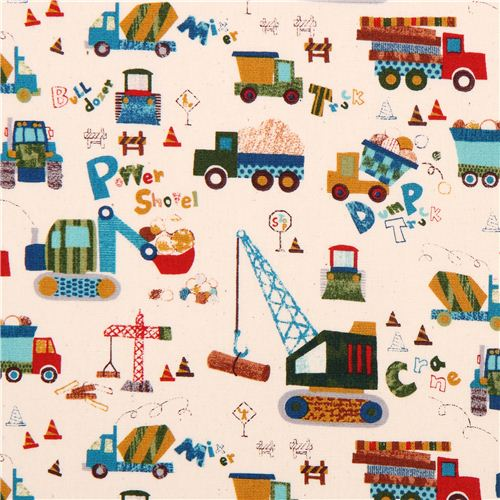 Cream digger truck cotton fabric for boys from japan for Little blue truck fabric