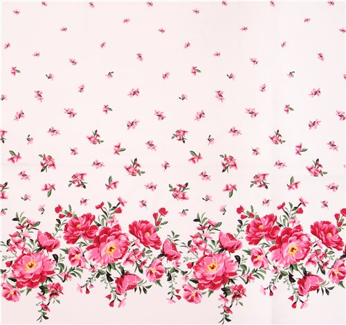 Off White Fabric Pink White Flower Green Leaf By Michael