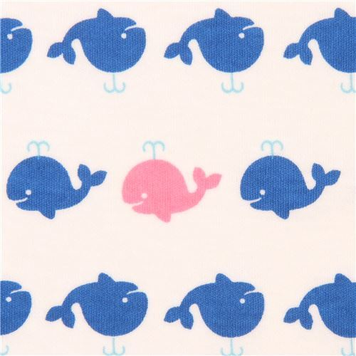 Off white navy blue pink whale knit fabric animal fabric for Whale fabric