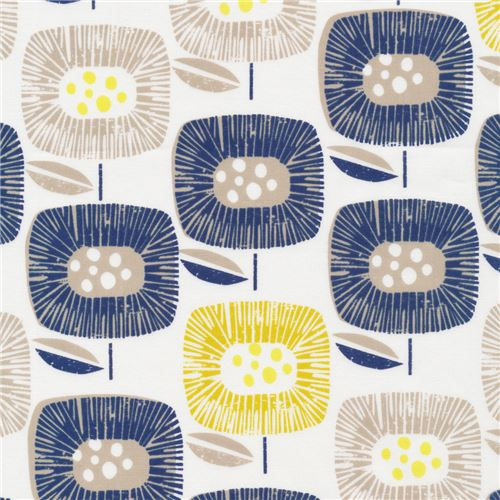 off-white navy blue yellow flower Cloud 9 organic cotton fabric ...
