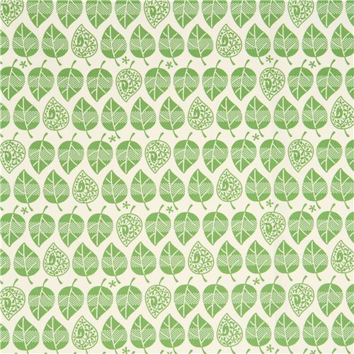 off-white oxford fabric with green leaves by Kokka Japan - Flower ...