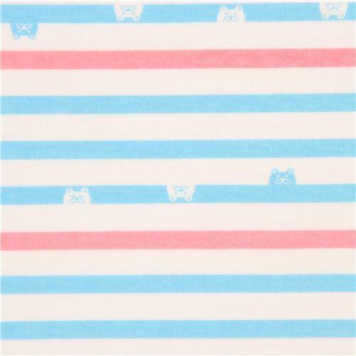 Off White Pink Light Blue Stripe Bear Face Knit Fabric