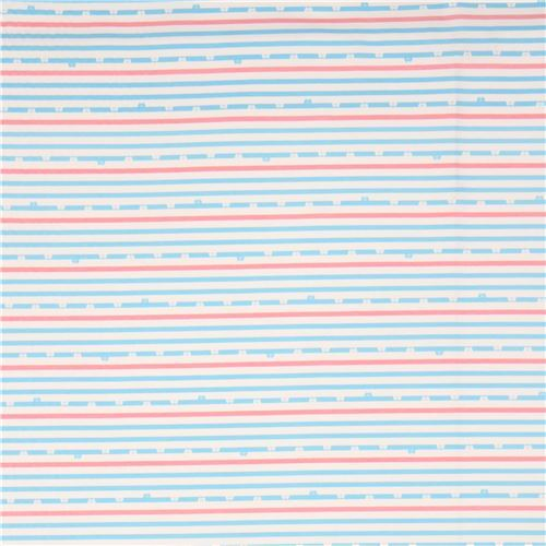 Off White Pink Light Blue Stripe Bear Face Knit Fabric 2