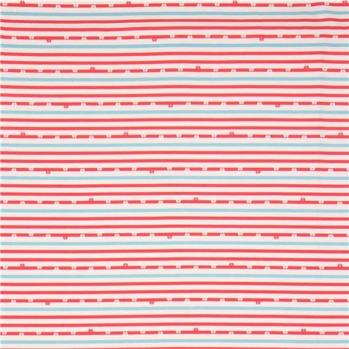 Off White Red Light Blue Stripe Bear Face Knit Fabric 2