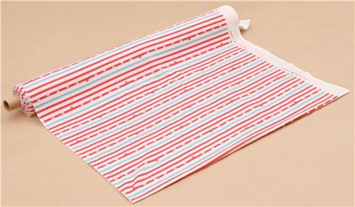 Off White Red Light Blue Stripe Bear Face Knit Fabric 3