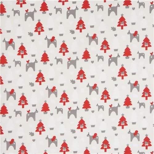 off white with christmas tree horse animal fabric by copenhagen