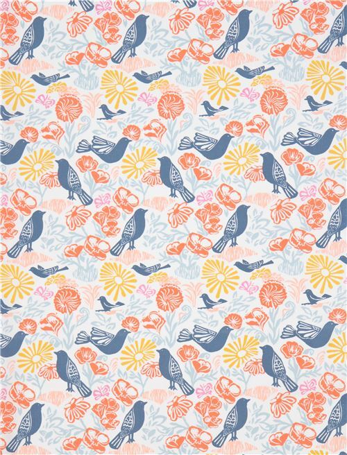 off-white with dark blue bird orange flower fabric Moda Fabrics ...