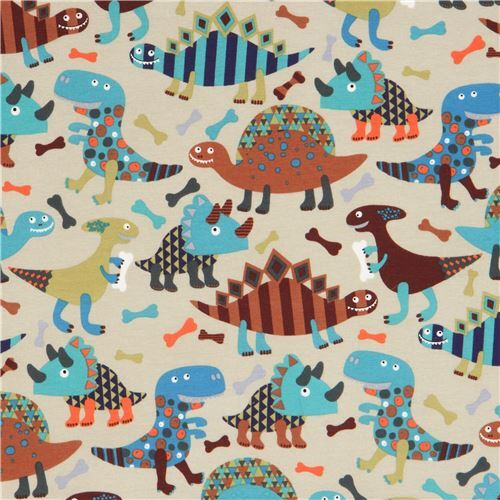 Olive green cute brown dinosaur knit fabric alexander for Kids dinosaur fabric