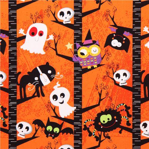 orangener Halloween Stoff Slime Time Geist Katze Eule Baum ...