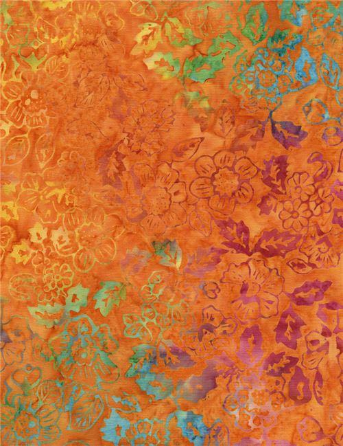 orange batik yellow lime green flower fabric by Timeless Treasures ...