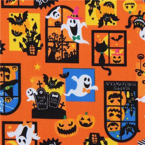 orangener Geister Schloss Kürbisse Halloween Stoff aus Japan ...