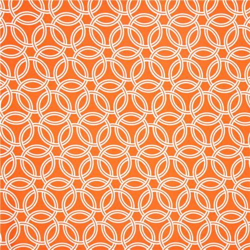 Orange Ring Pattern Cotton Sateen Fabric Michael Miller