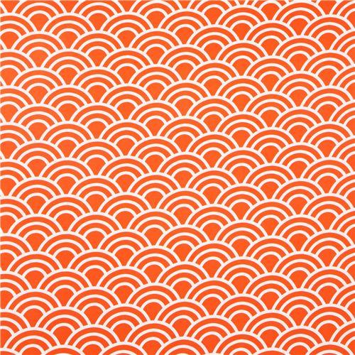 tissu michael miller en satin de coton orange motif vagues tissus pois ray s carreaux. Black Bedroom Furniture Sets. Home Design Ideas