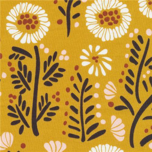 organic flower Cloud 9 mustard color fabric