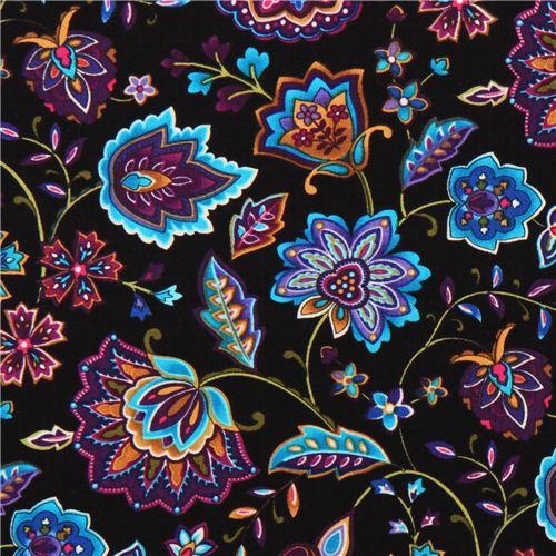 orientalische blumen stoff miraval timeless treasures blumenstoffe stoffe kawaii shop modes4u. Black Bedroom Furniture Sets. Home Design Ideas