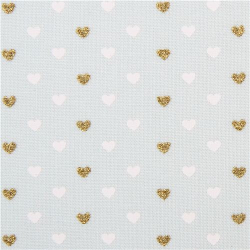pale green fabric with mini white gold glitter heart by Michael ...