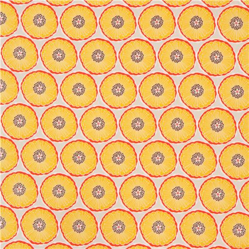 Pale grey oxford fabric orange red yellow flower from japan flower pale grey oxford fabric orange red yellow flower from japan 2 mightylinksfo Choice Image