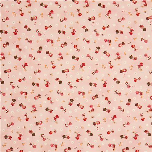 Pale pink cosmo children fabric with small girls from for Children s jersey fabric