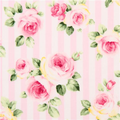 Pale Pink And White Striped Flower Rose Fabric By Cosmo