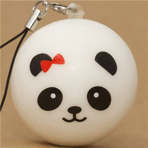 Panda Bear Bun With Red Bow Squishy Cellphone Charm Food