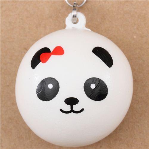 panda bear bun with red bow squishy cellphone charm - animal squishy - squishies