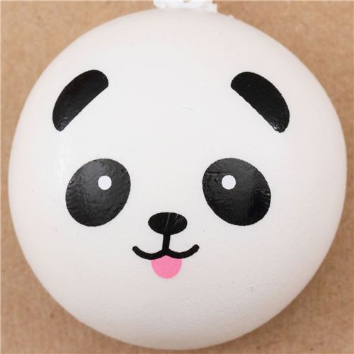 Panda Bear With Tongue Bun Squishy Cellphone Charm Kawaii