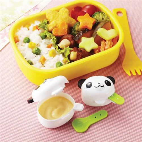 panda mini sauce containers with attached spoon bento box lunch box bento accessories bento. Black Bedroom Furniture Sets. Home Design Ideas