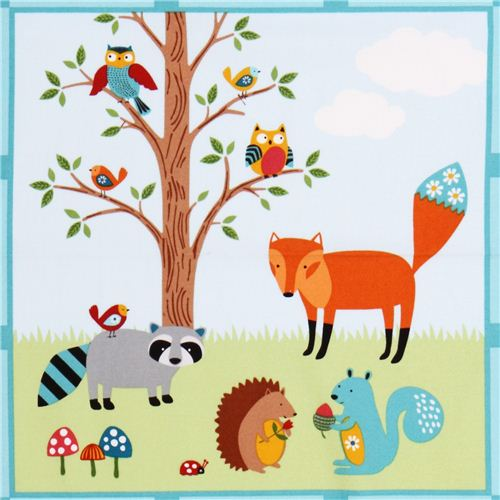 Panel Flannel Fabric Woodland Friends Northcott Studio