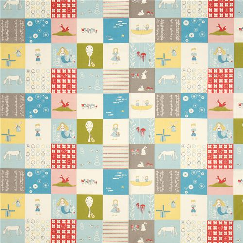 Patchwork birch organic fabric with sea boat children for Childrens fabric sale