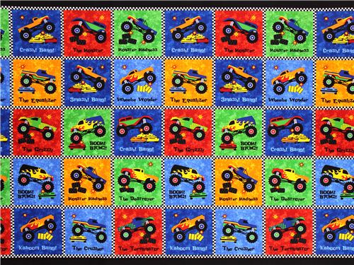 Patchwork Cheater Car Fabric For Boys Monster Truck