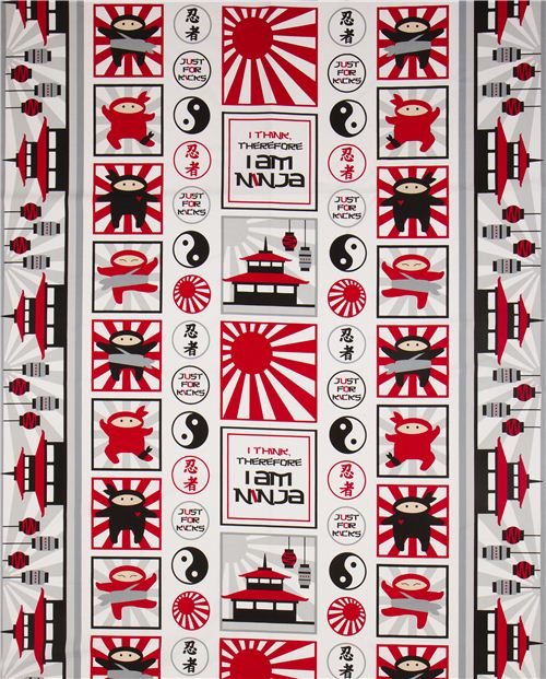 patchwork ninja fighter fabric by Robert Kaufman red-grey - Fabric ...