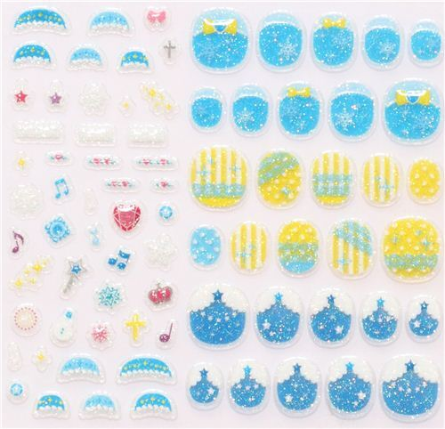 perfume night blue fingernail glitter stickers from Japan - modeS4u