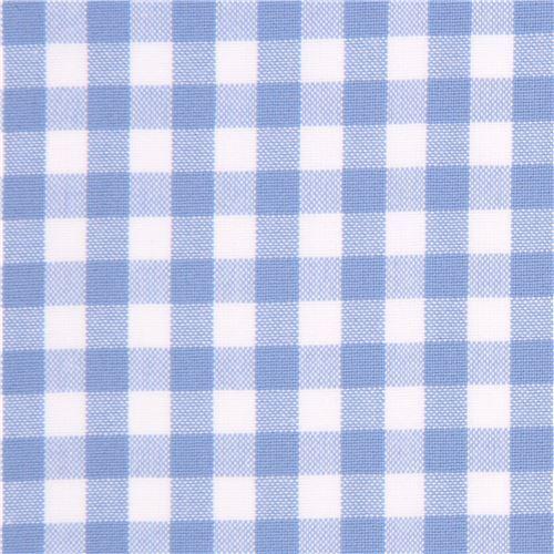 Periwinkle Blue White Checkered Robert Kaufman Fabric