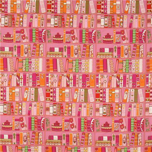 Pink Alexander Henry Bookshelf Fabric With Books 2