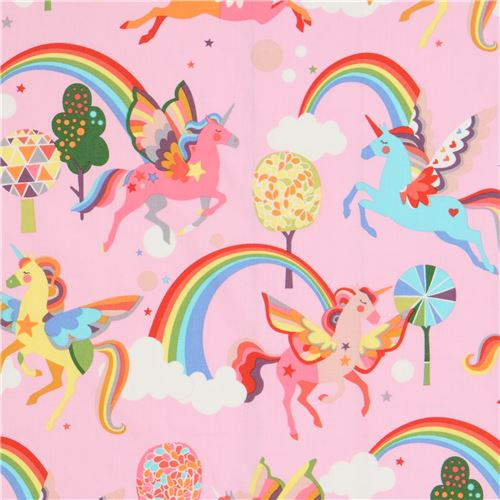 Tessuto Rosa Alexander Henry Unicorni Colorati Magic Rainbow Shine