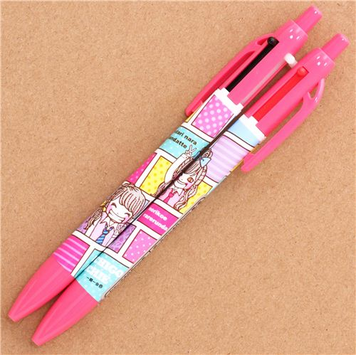 pink anime girls 2 colours ballpoint pen and pencil pens pencils