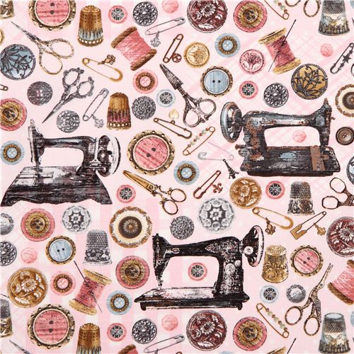 Pink 'Antique Sewing Tools' Fabric With Sewing Machine Timeless New Vintage Sewing Machine Fabric