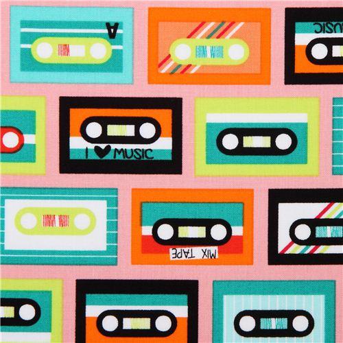 rosa beatbox bright kassetten retro stoff von robert. Black Bedroom Furniture Sets. Home Design Ideas