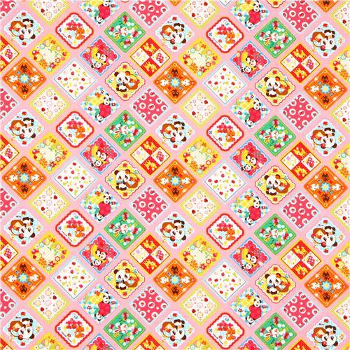 Pink Cosmo Panda Bear Sweets Square Animal Fabric Japan