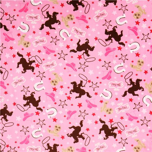 Pink cowboy sheriff horse minky fabric fleece plush for Horse fabric for kids
