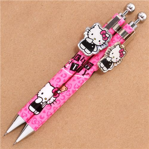 Pink Hello Kitty Cat Leopard Pattern Mechanical Pencil 1