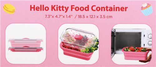 pink Hello Kitty collapsible silicone food container bento box