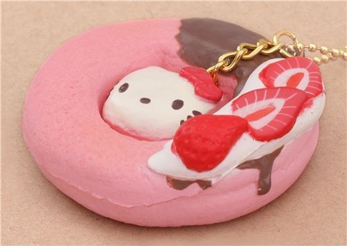 Diy Squishy Hello Kitty : pink Hello Kitty donut brown icing strawberry squishy charm for cellphone bag - Food Squishy ...