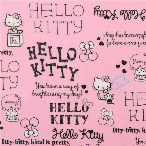 rosa hello kitty laminat stoff schrift schleife von sanrio hello kitty stoffe stoffe. Black Bedroom Furniture Sets. Home Design Ideas