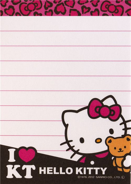 pink hello kitty mini memo pad with teddy bear and hearts