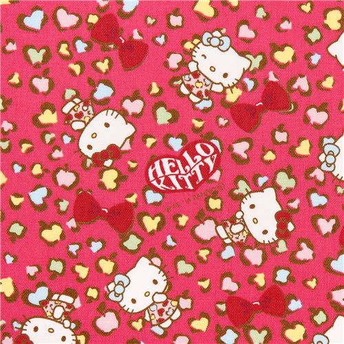 pink hello kitty oxford fabric leopard print by sanrio from japan