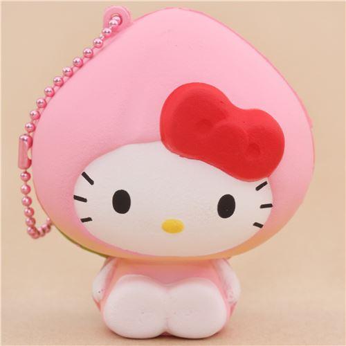 Diy Squishy Hello Kitty : pink Hello Kitty peach costume squishy charm - Hello Kitty Squishy - Squishies - Kawaii Shop modeS4u