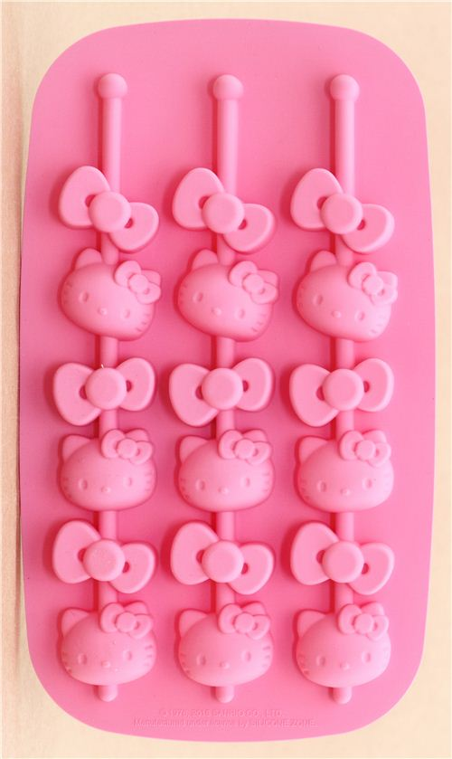 pink Hello Kitty silicone ice cube and chocolate mold with