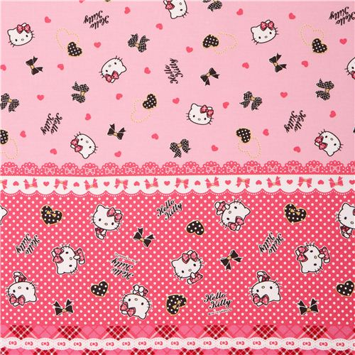 Pink Hello Kitty Stripes Hearts Ribbon Gold Oxford Fabric